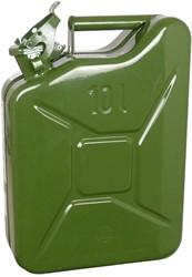 Benzinekan 10Ltr. groen metaal TUV/GS