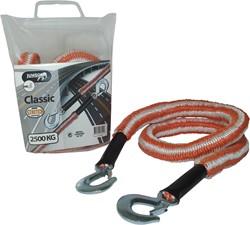 Jumbo sleepkabel stretch 2500kg oranje/wit + 2 haken