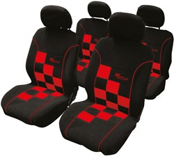 Stoelhoesset 8-delig Racing rood airbag