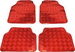 Mattenset 4-delig uni Alu-carbon rood