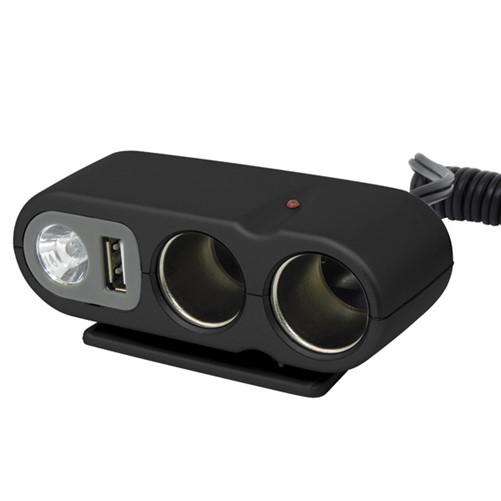 Carpoint 2-Weg stekkerdoos 2x12V 1xUSB LED Lamp 5A