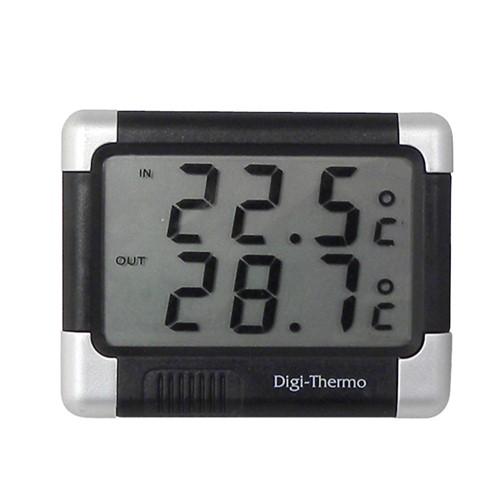 Thermometer binnen/buiten zwart/zilver