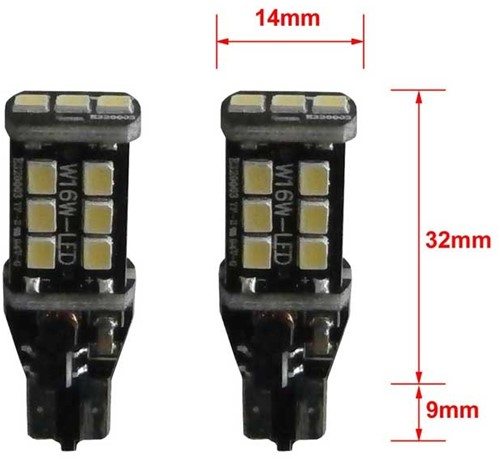 15 SMD Canbus LED W16W-T15 LET OP enkele lamp - rood-2
