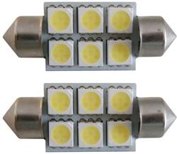 6 SMD LED 24v C5W - wit