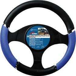 Auto stuurhoes zwart / blauw PVC -speed-