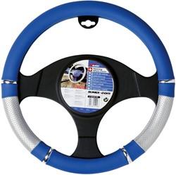 Auto stuurhoes blauw / zilver PVC -power-
