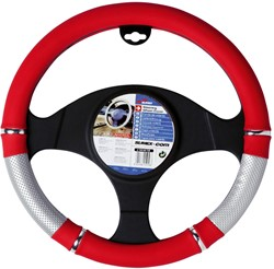 Auto stuurhoes rood / zilver PVC -power-