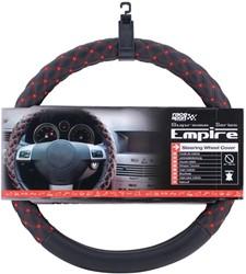 Auto stuurhoes leer Empire met rood stiksel 37-38cm