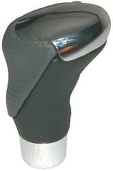 Pookknop chroom/zwart-grijs leder