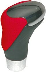 Pookknop chroom/zwart-rood leder