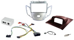 2DIN KIT Ford Fiesta 10> zilver frame, display rood