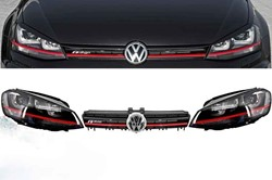 3D LED koplamp VW Golf 7 GTI + GTI Frontgrill Red R400 Look