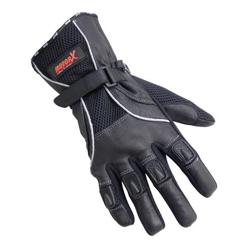 Motorhandschoenen leder zomer zwart XL
