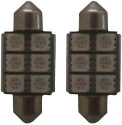 C5W 36mm 6 SMD LED binnenverlichting rood