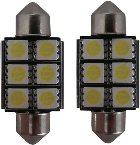 6 SMD LED kentekenverlichting 36mm C5W