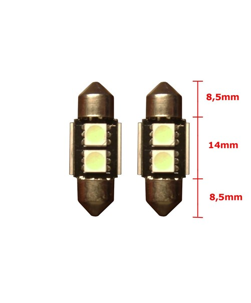 2 SMD Wit Canbus LED binnenverlichting 31mm