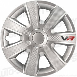 4-Delige Wieldoppenset VR 15-inch zilver/carbon-look/logo