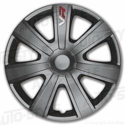 4-Delige Wieldoppenset VR 15-inch grijs/carbon-look/logo