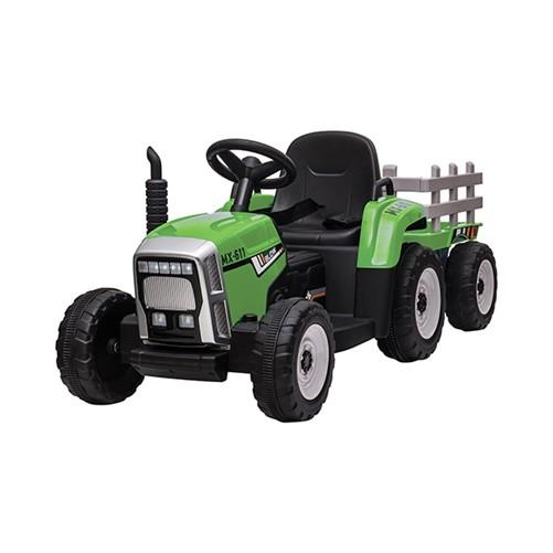 E-Tractor met aanhanger Groen