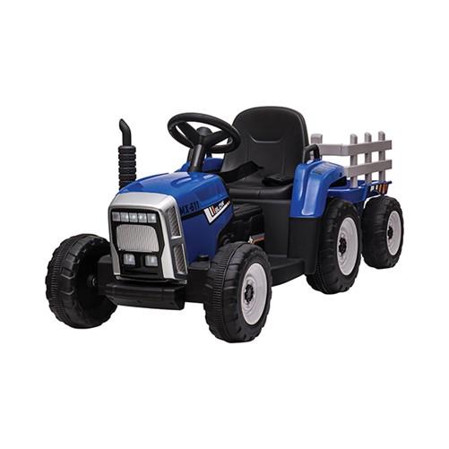 E-Tractor met aanhanger Blauw