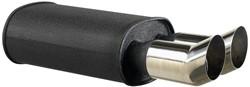 Stalen Sportuitlaat Universeel - 2x76mm DTM - 63,5mm aansluiting